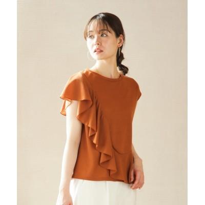 tシャツ Tシャツ サイドフリルデザイン・リネンタッチプルオーバー