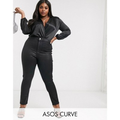 エイソス ASOS Curve レディース ジーンズ・デニム ASOS DESIGN Curve Rivington high waisted stretch powerhold denim jeggings in black coated ブラック