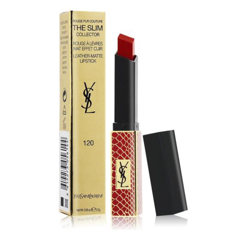 YSL 奢華緞面絲絨唇膏-限定紅色鱷魚紋#120 (2.2g) <國際航空版>