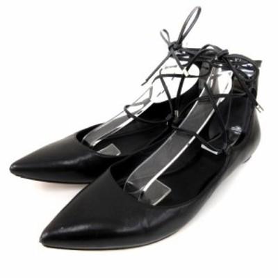 【中古】シガーソンモリソン フラットシューズ パンプス レースアップ 編み上げ レザー 黒 8 靴 レディース