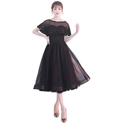 パーティードレス ミモレ丈 結婚式 ワンピース 結婚式ドレス ロング フォーマルドレス 大きいサイズ お呼ばれ 大人(ブラック, XL)