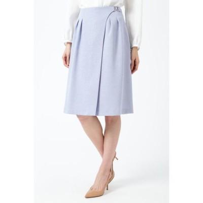 スカート ◆麻調バックル付ラップスカート