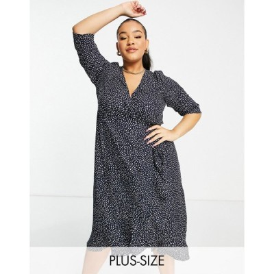 ヴェロモーダ ドレス 大きいサイズ レディース Vero Moda Curve wrap midi dress in navy spot エイソス ASOS ネイビー 藍