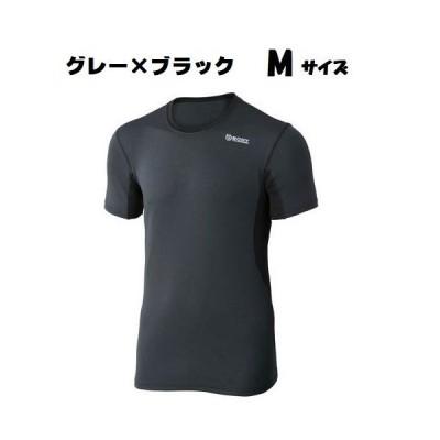 おたふく手袋 BTデュアルメッシュ ショートスリーブ クルーネックシャツ JW-601 グレー×ブラック Mサイズ