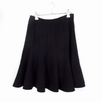 【中古】アクアガール aquagirl スカート フレア ひざ丈 無地 34 黒 ブラック /MO レディース