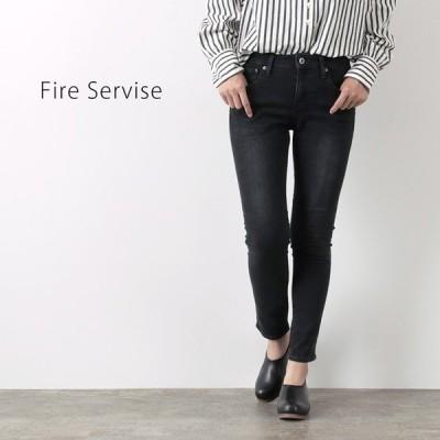 FIRE SERVICE(ファイアーサービス) ボーイフレンド スキニー デニム パンツ/ユーズド ブラック / レディース / ジーンズ