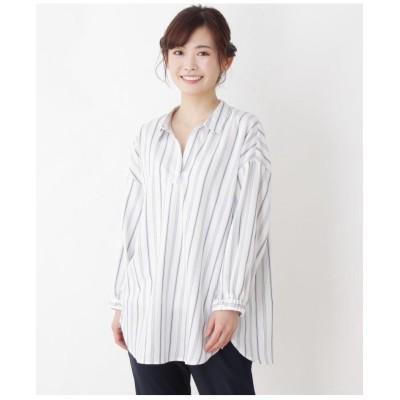 【洗える】【シワになりにくい】スキッパールーズシルエットシャツ