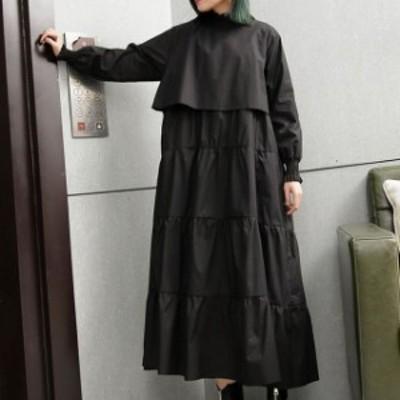 ティアードワンピース 韓国 ファッション レディース シャツワンピース シャツワンピ ロング フレア リボン 長袖 ゆったり 無地 大人可愛