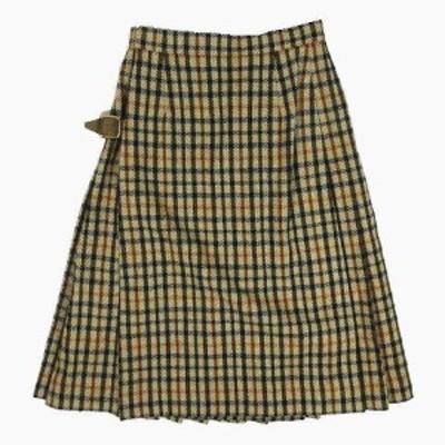 【中古】ダックス DAKS チェック柄 ラップ 巻き スカート ベルト付き サイズ60-88 ベージュ系 ◎12 レディース