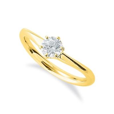 指輪 18金 イエローゴールド 天然石 一粒リング 主石の直径約4.4mm ソリティア V字 六本爪留め K18YG 18k 貴金属 ジュエリー レディース メンズ