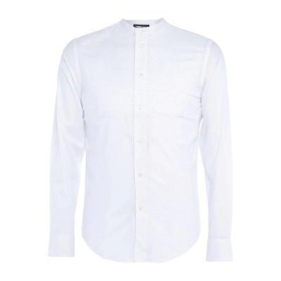 EMPORIO ARMANI 無地シャツ ファッション  メンズファッション  トップス  シャツ、カジュアルシャツ  長袖 ホワイト