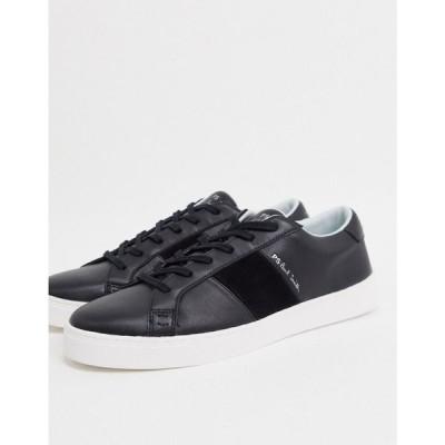 ポールスミス PS Paul Smith メンズ スニーカー シューズ・靴 Lowe leather trainers with suede side panel in black ブラック