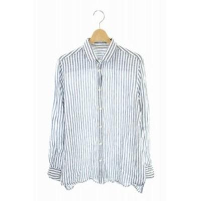 【中古】ドゥーズィエムクラス DEUXIEME CLASSE 18SS シャツ リネン 長袖 ストライプ 白 紺 /AA ■OS レディース