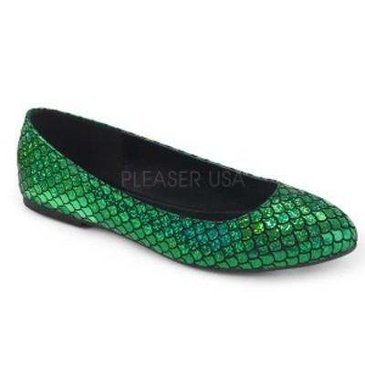 ラウンドトゥ パンプス FUNTASMA Pleaser プリーザー MERMAID-21 Green Hologram Pu ホログラム マーメイド フラットシューズ レディース