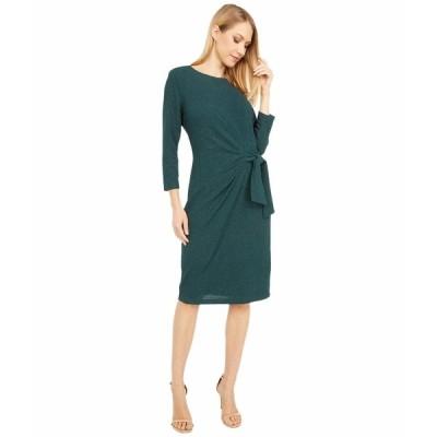 ロンドンタイムス ワンピース トップス レディース Sparkle Pebble Knit Side Tie Long Sleeve Sheath Emerald