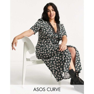 エイソス ASOS Curve レディース ワンピース ワンピース・ドレス Asos Design Curve Lace Trim Maxi With Short Sleeve In Black Based Floral Print
