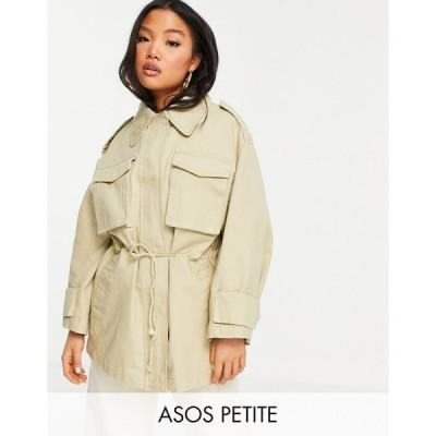 エイソス ジャケット レディース ASOS DESIGN Petite oversized jacket with pocket detail in stone エイソス ASOS