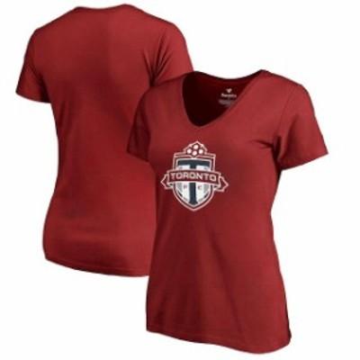 Fanatics Branded ファナティクス ブランド スポーツ用品  Fanatics Branded Toronto FC Womens Red Primary Logo V-Ne