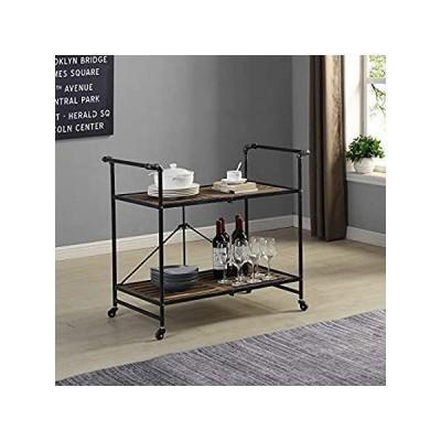 FirsTime & Co. Hudson Folding Bar Cart, American Crafted, Dark Silver, 31.5