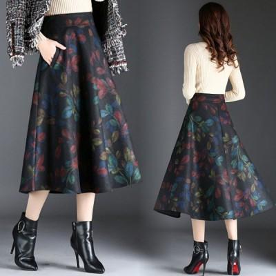 フラワースカート 秋冬 コーデ 花柄スカート 40代 ひざ下 Aラインスカート 大きいサイズ 体型カバー フラワーフレアスカート