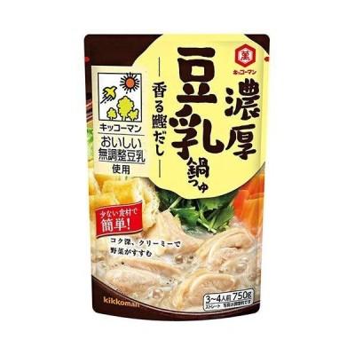 キッコーマン 濃厚豆乳鍋つゆ 香る鰹だし 750gパウチ×12本入×(2ケース)
