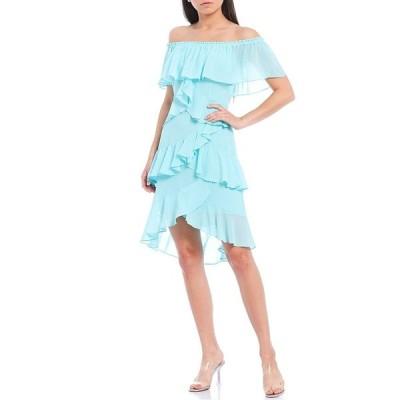 バッジェリーミシュカ レディース ワンピース トップス Odette Off-The-Shoulder Hi-Low Ruffle Dress Light Blue