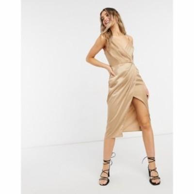 リトル ミストレス Little Mistress レディース ワンピース ラップドレス ワンピース・ドレス Satin Wrap Dress In Gold ゴールド