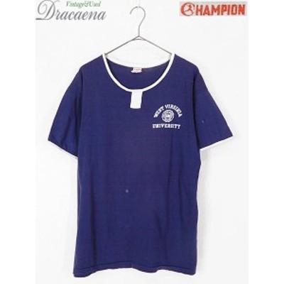 古着 ヴィンテージ 60s Champion ランタグ フロッキー 3段 カレッジ チョコチン リンガー Tシャツ L 古着