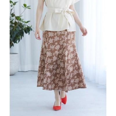 スカート 単色花柄サテンマーメイドスカート