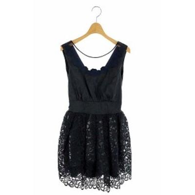 【中古】リリーブラウン Lily Brown レースドッキングドレス ワンピース ミニ 1 紺 /AO ■OS レディース