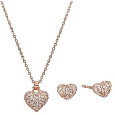 マイケルコース ネックレス/ピアス MKC1262AN Michael Kors Heart Necklace & Earrings ハート パヴェ ネックレス&ピアス ギフトセット(ローズゴールド)