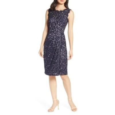 エリザジェイ レディース ワンピース トップス Embroidered Lace Sheath Dress (Petite & Regular) NAVY