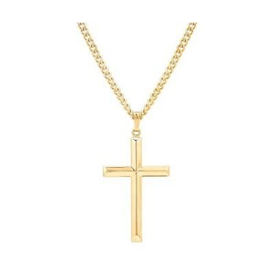 Men's Masculine & Handsome Gold-Filled Cross Pendant Necklace For Him; High Polished & Beveled Edge Gold Cross Pendant Necklace Men's Gold C
