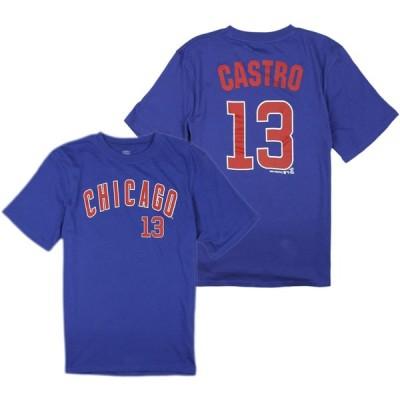 シカゴ・カブスMLB Little Boys / Big Boys Youth Starlin Castro # 13 Player Tシャツ、ブルー 並行輸入品