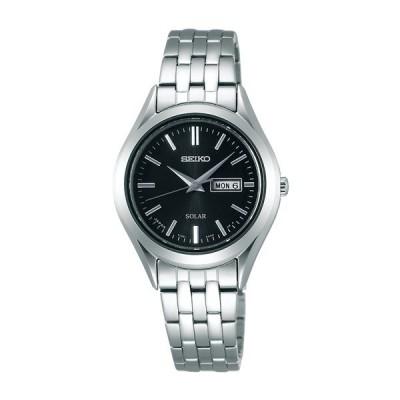 電池交換不要! ソーラー時計 セイコー レディース デイデイト 30mm ブラック文字盤 シルバー ステンレス ブレスレット STPX031 あすつく 腕時計