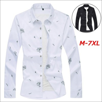 長袖シャツ メンズ シャツ アロハシャツ 花柄 男性 カジュアルシャツ 大きいサイズ シャツ 白 黒 おしゃれ 春 夏 秋