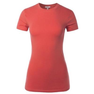 キッズ 衣類 トップス A2Y Women's Junior Fit Basic Solid Cotton Short Sleeve Crew Neck T Shirt Tee Tops Rose S Tシャツ