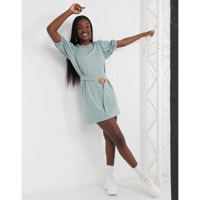ミスガイデッド レディース ワンピース トップス Missguided puff sleeve belted t-shirt dress in khaki