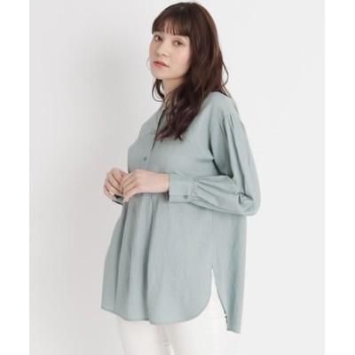 【S-LL】リネン混ヨーク切り替えシャツ