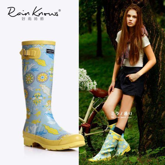 好雨時節女式高筒雨鞋時尚印花雨靴春夏繁花橡膠歐美風高筒雨靴女