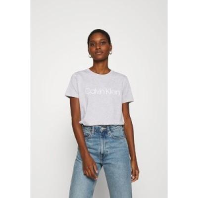 カルバンクライン レディース Tシャツ トップス CORE LOGO - Print T-shirt - light grey heather light grey heather