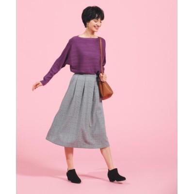 【ピンクアドベ】 <洗濯機で洗える&毛玉とシワができにくい>上品フレアスカート レディース ブラック 38(M) pink adobe