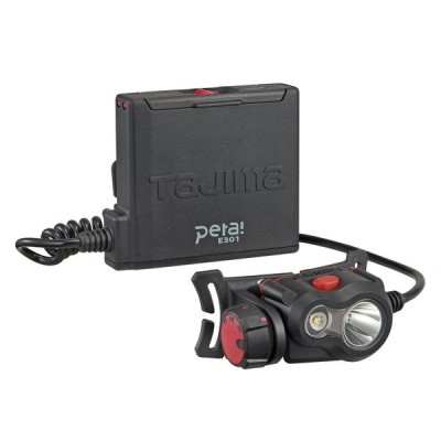 タジマ ペタLEDヘッドライトE301ブラック 明るさ最大300lm(50lm時18h点灯) LE-E301-BK