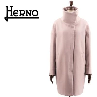 ヘルノ HERNO レディース メルトン ドロップショルダー オーバーサイズコート CA0334D-39601/12017 2600(ピンクベージュ)返品交換不可