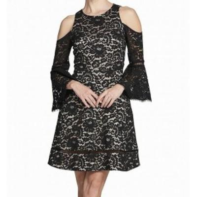Eliza J エリザジェイ ファッション ドレス Eliza J NEW Black Womens Size 6 Lace Col-Shoulder A-Line Dress