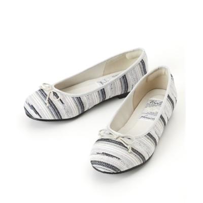 ツイード調バレエシューズ(低反発中敷)(ワイズ4E) シューズ(フラットシューズ) Shoes