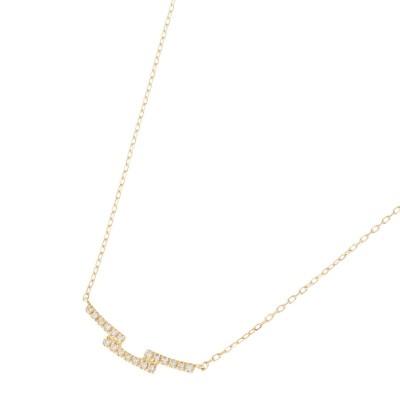 ココシュニック COCOSHNIK K18ダイヤモンド ステップ ネックレス (イエローゴールド)