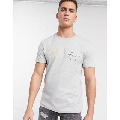 リバーアイランド River Island メンズ Tシャツ トップス t-shirt with prolific embroidery in grey グレー