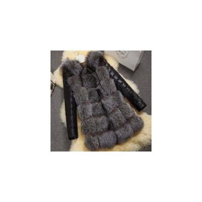 ファーコート レディース 毛皮コート フォックス PU袖 ロッグコート フェイクファー 高級 おしゃれ 上着 暖かい 防寒 冬服 秋服 新作