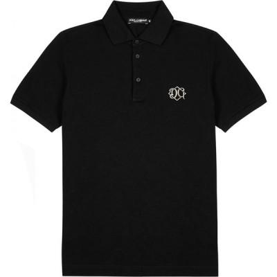 ドルチェ&ガッバーナ Dolce & Gabbana メンズ ポロシャツ トップス Black Pique Cotton Polo Shirt Black